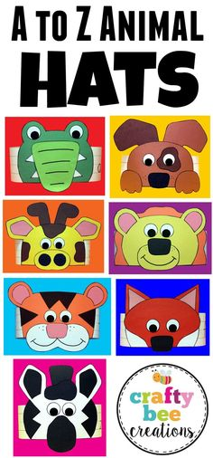 "A to Z Animal Hat patterns that include 26 different animals to go with each letter of the alphabet. Make a hat by downloading and printing the patterns onto construction paper, cut, and glue. You will need letter strips or long 3"" high strips of constr"