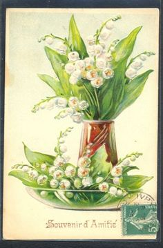 PG064-ART-NOUVEAU-MUGUET-Gaufree-LILY-of-the-VALLEY-VASE-PLATE-Embossed