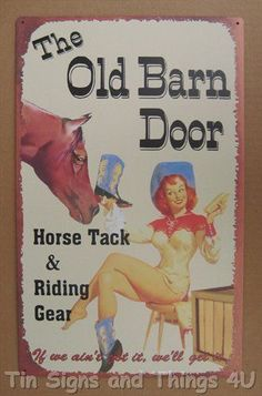 Barn Door Horse Tack PinUp Cowgirl TIN SIGN gift vtg western wall decor OHW-A