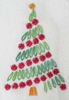 Embroidery stitches as a Christmas tree