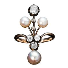 Belle Epoque Russian Pearl Diamond Ring thumbnail 1