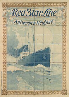 Red Star Line - Antwerpen - New York - 1901 - illustration de Henri Cassiers -
