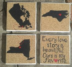 Personalized 'Love Story' Coasters Hand Painted by MySouthernHeartsCo