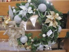 Sophisticated luxury. Focused palette of gold, silver and white with rich textures and finished; dressed to the max in a plethora of glitter and diamonds. From Your Christmas Shop at Stauffers of Kissel Hill Garden Centers. www.skh.com