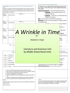 A Wrinkle in Time Complete Literature and Grammar Unit- Included in the unit are pre-reading, active-reading and post-reading activities with grammar lessons, literary activities, a literary terms and elements matching quiz, a final essay test with grading rubric, and other activities just for fun!