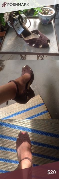 """Mossimo Sandals Brown Suede with a Cork Base, Wrap Around Strap. Never Worn! I bought them last summer. Comfortable. 3"""" heel, Style name is Phyte. All leather upper! Mossimo Shoes Platforms"""