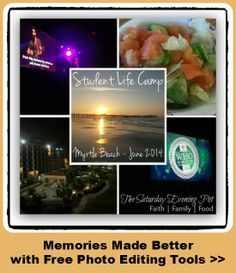 Amazing and 100% FREE photo editing tools ... lots of variety in features such as collages, fonts, etc!  Click here for more info and examples  http://thesaturdayeveningpot.com/2014/06/myrtle-beach-memories-fotor-free-photo-editing-tools.html