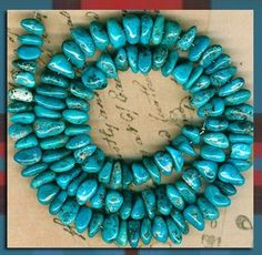 "Mexican Nacozari Turquoise Beads Natural Blue Color 16"" Strand 3x5x8mm 
