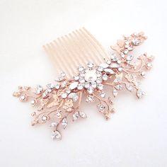 Rose Gold Bridal hair comb, Crystal Wedding headpiece, Rose Gold headpiece, Swarovski crystal hair comb, Vintage style headpiece, Hair piece by treasures570 on Etsy https://www.etsy.com/listing/225343638/rose-gold-bridal-hair-comb-crystal