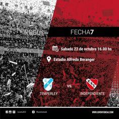 HOY INDEPENDIENTE  #Independiente visita a Temperley  por la fecha 7 del torneo de Primera División #VamosRojo
