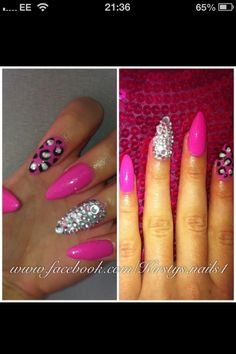 Bright pink/silver/leopard