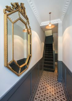 Folio Developments Farrow and Ball Railings Shaker Paneling Copper Lamps Entrance Hall – hallway Hallway Ideas Entrance Narrow, Entrance Hall Decor, Entrance Halls, Entryway, Hallway Paint, Tiled Hallway, Modern Hallway, Hallway Mirror, Dark Hallway