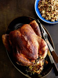 Roasted Capon with Quinoa-Olive Stuffing from #FNMag