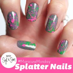 This #manicuremonday with Sam and Syl features super awesome splatter nails! Check out all the details on how to recreate this look on our blog!