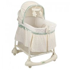 Kolcraft® Cuddle 'n Care® Bassinet and Incline Sleeper is the only traditional bassinet that allows parents to position infants on an angle. Incline Sleeper attachment easily removes for use as a traditional bassinet. Best Bassinet, Wood Bassinet, Hanging Bassinet, Bedside Bassinet, Cradles And Bassinets, Baby Cradles, Help Baby Sleep, Baby Nursery Furniture, Nursery Ideas