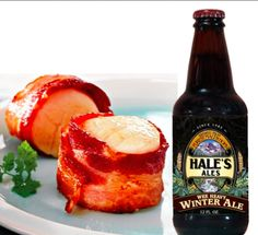 Bacon Wrapped Scallops with Wee Heavy Winter Ale Cream Sauce.