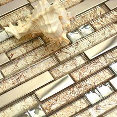 warm light golen crystal glass mixed metal diamond strip mosaic tiles for wall backsplash mosaic tiles bathroom glass mosaic #Affiliate