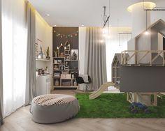 chambre d'enfants design avec maisonnette, toboggan, pouf et tapis gazon