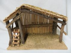 The opening in front has a closable gate with hastener. Christmas Cave, Christmas Manger, Christmas Nativity Scene, Christmas Wood, Christmas Crafts For Kids, Nativity Creche, Nativity Stable, Outdoor Nativity, Nativity Scenes