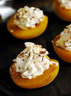 Almond Cream Cheese Apricots  This two-bite dessert is light, easy, and oh-so-quick. We just stuffed tiny fresh apricots with a creamy filling of lemon and almond cream cheese, lightly sweetened and dusted with cinnamon