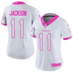 Nike Buccaneers  11 DeSean Jackson White Pink Women s Stitched NFL Limited  Rush Fashion Jersey 302f2b15d
