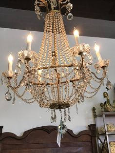 Antique French 6 Arm Chandelier with Macaroni crystal metal beads