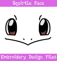 PES, HUS, & JEF Files: Squirtle Face - Embroidery Machine Design