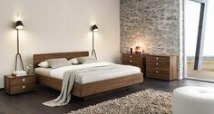 nox Bett von TEAM 7 mit eleganter S-Linie an den Ecken. Metallfreie Bettverbindungen.