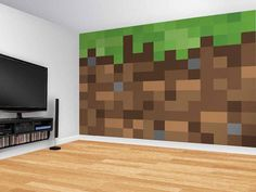 Grass Block Wall Treatment Inspired by Minecraft Boys Minecraft Bedroom, Minecraft Wall, Minecraft Blocks, Minecraft Party, Kids Bedroom, Bedroom Decor, Bedroom Wall, Bedroom Ideas, Video Game Decor