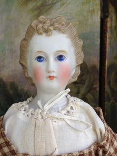 """Antique German Bisque 13"""" Parian Lady with Exquisite Detailed Coiffure"""