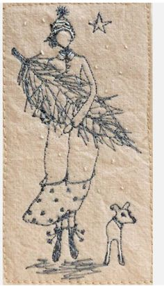 Christmas Tree, Betty & her Dog Milly ~ Embroidery by Michelle Holmes .....