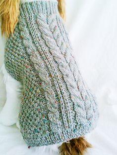 Tweed Cable Dog Sweater / Handknit / Dog Clothing / 3 Sizes