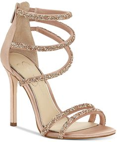 1d5d31ae8 Jessica Simpson Jamalee Gemstone Evening Sandals Women s Shoes Nude Strappy  High Heels