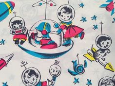 Vintage Gift Wrapping Paper - Juvenile Birthday - Atomic Age Space Race Boys , Girls, Animals - 1 Unused Full Sheet of Vintage Gift Wrap
