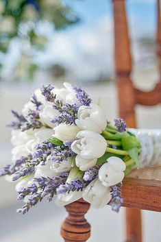 Purple Wedding Flowers Cute wedding bouquet with white tulip and lavender, spring wedding ideas - Tulip Bouquet Wedding, White Tulip Bouquet, Wedding Flower Guide, Spring Wedding Bouquets, White Wedding Flowers, Bridal Flowers, Bridal Bouquets, Wedding Lavender, Bridesmaid Bouquets