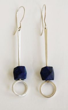 Faceted Matte Lapis Earring by Metallist. American Made. See the designer's work at the 2015 American Made Show, Washington DC. January 16-19, 2015. americanmadeshow.com #earrings, #jewelry, #lapis, #sterlingsilver, #blue, #americanmade