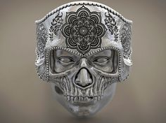 Ring Skull Mandala Mehndi Buddism India Openwork STL for Mandala Symbols, Marquesan Tattoos, Floral Skull, Biker Rings, Gold Chains For Men, Skull Mask, Skull Jewelry, Silver Jewellery, Skull Rings