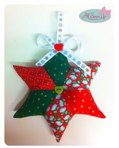Easy patchwork star project for your Christmas Tree!How to make a hanging fabric star decorationA quilted star project with pattern- would be great with fabric of a loved one to make a keepsake.Learn to sew easy tutorials for beginnersEnglish paper p Christmas Decorations Sewing, Christmas Sewing Patterns, Christmas Patchwork, Quilted Christmas Ornaments, Christmas Sewing Projects, Fabric Ornaments, Christmas Fabric, Felt Christmas, Handmade Christmas
