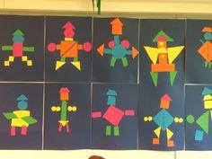 Kunst og håndverk og matematikk: oppgave som kombinerer arbeid med geometriske figurer og bokstaven r for robot.