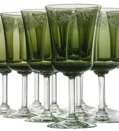 How lovely your holiday dinner table would look with these vintage Fostoria Cameo Green water goblets or wine glasses. This listing is for a set of twelve in exquisite condition....