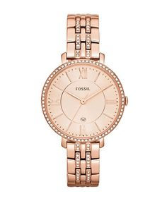 FOSSILJacqueline Three Hand Date Stainless Steel Watch Rose Gold Tone