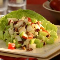 Crunchy pear and celery salad.  Raw, vegan