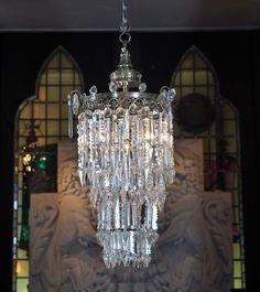 Antique English Regency revival crystal chandelier