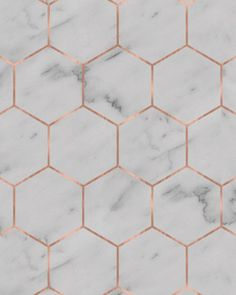 Marble Hexagon Wallpaper - Self-Adhesive (Removable) / White Marble + Rose Gold