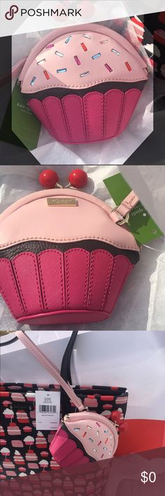 """🍰Kate Spade Take the Cake Wristlet🍰 NWT, never used Kate Spade wristlet purse. Adorable cupcake design with cherry clip closure at top 🍒 Approximately 5.5"""" tall x 2.5"""" long x 5.5"""" wide with 5.5"""" wristlet drop. Signature Kate Spade lining in interior. 14 karat gold plated hardware. Leather exterior in pink and brown, front has sprinkles. No dust bag - personally bought from Kate Spade Outlet. Flat oval bottom. Tote is Not included, pictured for display only kate spade Bags Clutches…"""