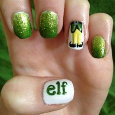 This wonderful looking gradient nail art using glitter polish. For more effect you can add a drawing of elf feet and the word elf to emphasize the character.