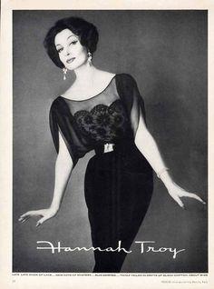 Hannah Troy Fashion Ad 1959 Beautiful Cocktail Evening Dress in Black   eBay