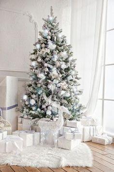 4664 White Christmas Tree Fireplace Indoor Window Interior Backdrop #xmastreedecorations
