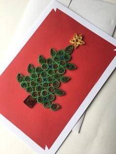 Carte de voeux sapin de Noël en 3D vert et rouge : Cartes par amelie-t