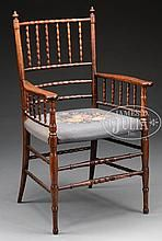 SHERATON SPINDLE BACK CHERRY ARMCHAIR AFTER WILLIAM MORRIS.